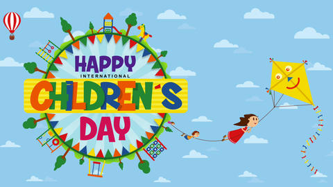Happy International Children's Day greeting card. Text inside a circle surrounded by playgrounds and Animation