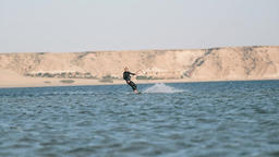 Man Kiteboarding in Dakhla, Morocco Live Action