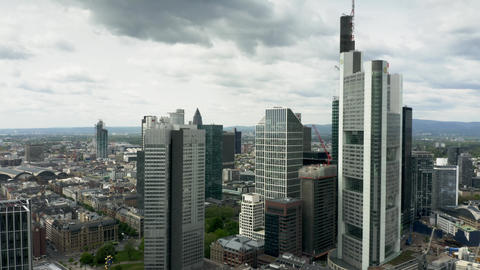 FRANKFURT AM MAIN, GERMANY - APRIL 29, 2019. Aerial view of skyscrapers in city Footage