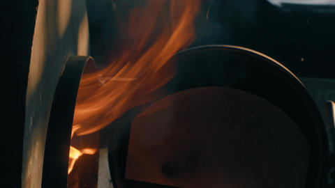 Flame comes out of the stove Footage
