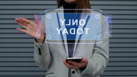 Business woman interacts HUD hologram Only today Live Action