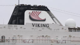 Upper deck of Cruise Liner Viking Orion with pipe spewing smoke Footage