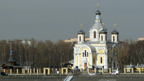 temple of Russian Orthodox church with golden crosses Archivo