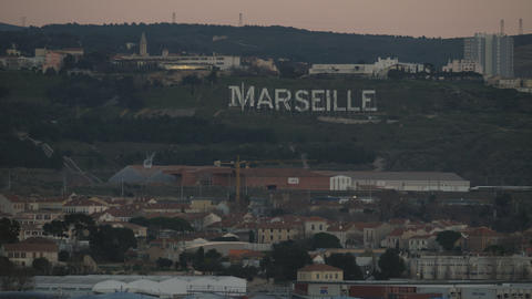 Marseille cityscape and sign on green hills, France Archivo