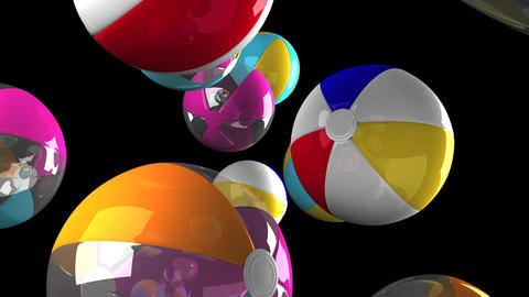 [alt video] Colorful beach balls on black background
