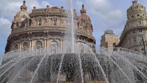 Genova fountain Piazza de Ferrari. The famous fountain and the surrounding build Footage