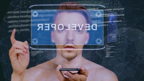 Guy interacts HUD hologram Developer Live Action