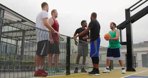 Basketball players interacting with each other 4k Live Action