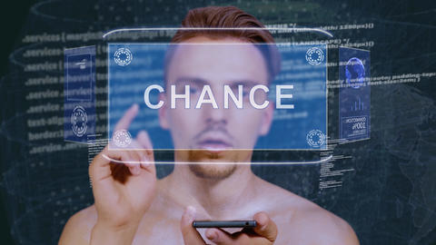 Guy interacts HUD hologram Chance Stock Video Footage