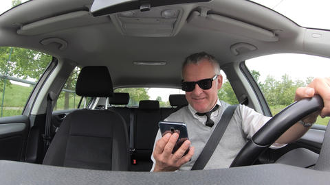 Danger Risk With Man Driving Car Looking At Phone Smartphone GIF