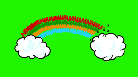 Rainbow and Cloud Drawing 2D Animation Videos animados
