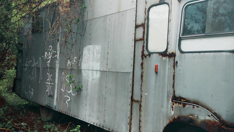 Old abandoned truck in the forest Footage