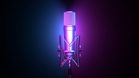 Professional microphone against cyan and magenta background Animation