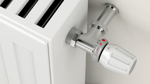 Turning the thermostatic valve on the heating radiator GIF