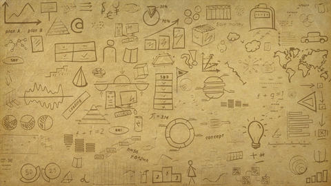 Animated background with paper texture and infographic pattern Animation