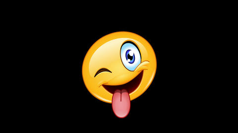 Stuck out tongue and winking eye emoticon animation Animation