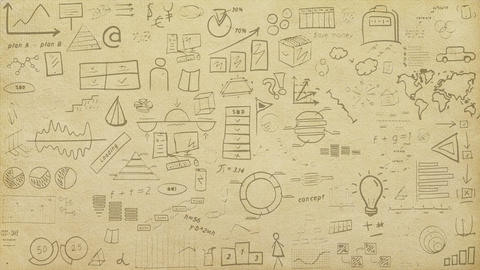 Animated infographic texture on paper Animation