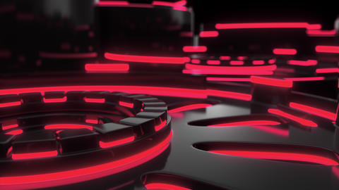 0895 Technological background loop with red glowing lines Footage