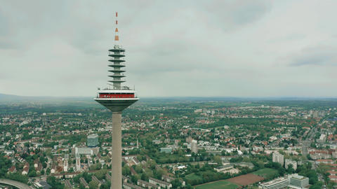 FRANKFURT AM MAIN, GERMANY - APRIL 29, 2019. Top of famous Europaturm, high GIF
