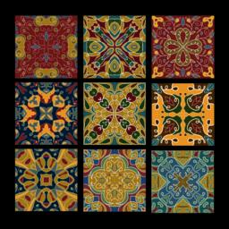 Set of vintage ceramic tiles in azulejo design with multicolored patterns on Vector