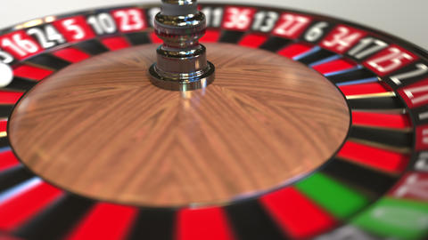 Casino roulette wheel ball hits 1 one red. 3D animation Footage
