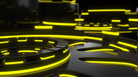 0901 Technological background loop with yellow glowing lines Footage