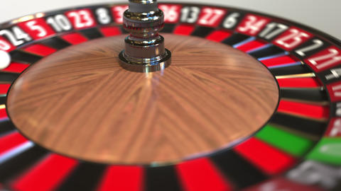 Casino roulette wheel ball hits 33 thirty-three black. 3D animation Footage