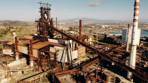 Aerial view of rusty equipment of an obsolete industrial area Footage