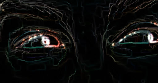 Green pixel eyes symbol on glitch lcd led screen display background animation Live Action