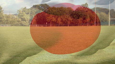 Digital composite of digitally generated japan national flag Animation