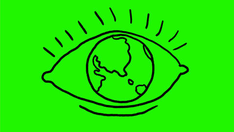 Eye With Earth Globe as Eyeball Drawing 2D Animation Animation