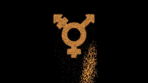 Symbol transgender appears from crumbling sand. Then crumbles down. Alpha channel Premultiplied - Animation