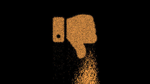 Symbol thumbs down appears from crumbling sand. Then crumbles down. Alpha channel Premultiplied - Animation
