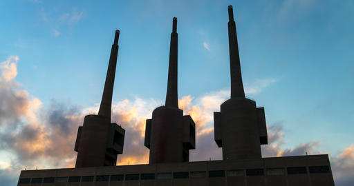 Ancient thermal power station in Sant Adria, province of Barcelona.Hyper Lapse Footage