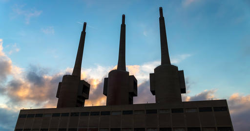 Ancient thermal power station in Sant Adria, province of… Stock Video Footage