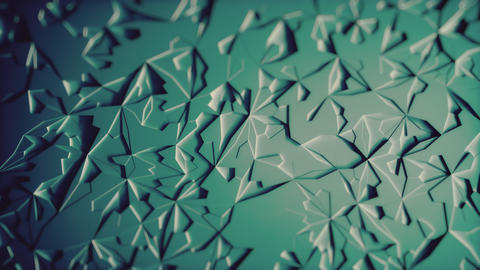 Abstract Low poly Blue Ice Background Loop with Depth of Field Top View Animation