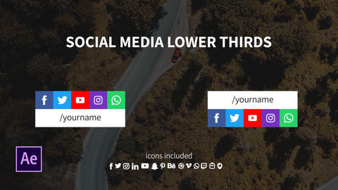 Lower Third with 5 Social Media Icons in a Row After Effects Template