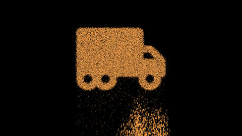 Symbol truck moving appears from crumbling sand. Then crumbles down. Alpha channel Premultiplied - Animation