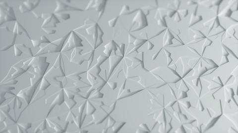 Abstract Low poly White Ice Background Loop with Depth of Field Top View Animation