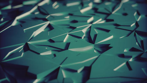 Abstract Low poly Blue Ice Background Loop with Depth of Field Close View Animation
