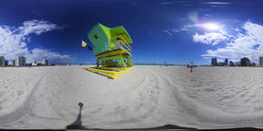 360 vr video of a colorful lifeguard tower in world famous Miami Beach. Southern Florida, USA VR 360° Video