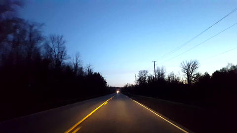 Driving Rural Countryside Road During Morning. Driver Point of View POV Along Beautiful Dawn Morning Archivo