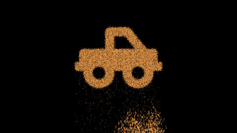 Symbol truck pickup appears from crumbling sand. Then crumbles down. Alpha channel Premultiplied - Animation