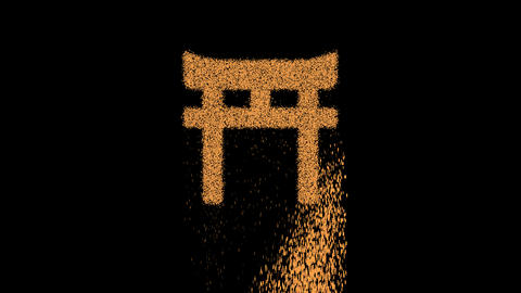 Symbol torii gate appears from crumbling sand. Then crumbles down. Alpha channel Premultiplied - Animation