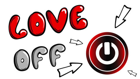 Cartoon animation inscription love off Animation