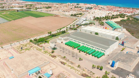 Aerial view. The exterior of a large modern production plant or factory Footage