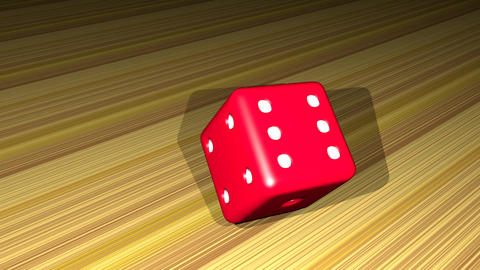red dice falling on a wooden board, rotating, 3d animation, render video, outro Animation
