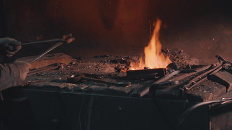 Heating of metal detail in the fire Footage
