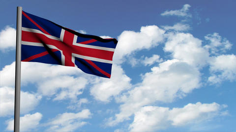 british flag on sky background with white clouds, computer 3d animation, render Animation