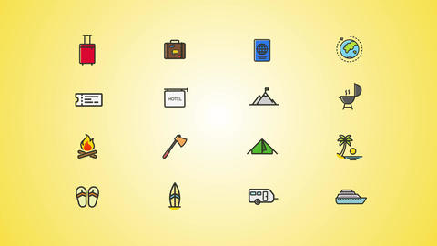 Vacation Weekend Icons Pack After Effects Template